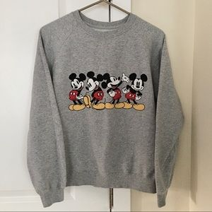 Embroidered Mickey Mouse Heather Gray Sweatshirt